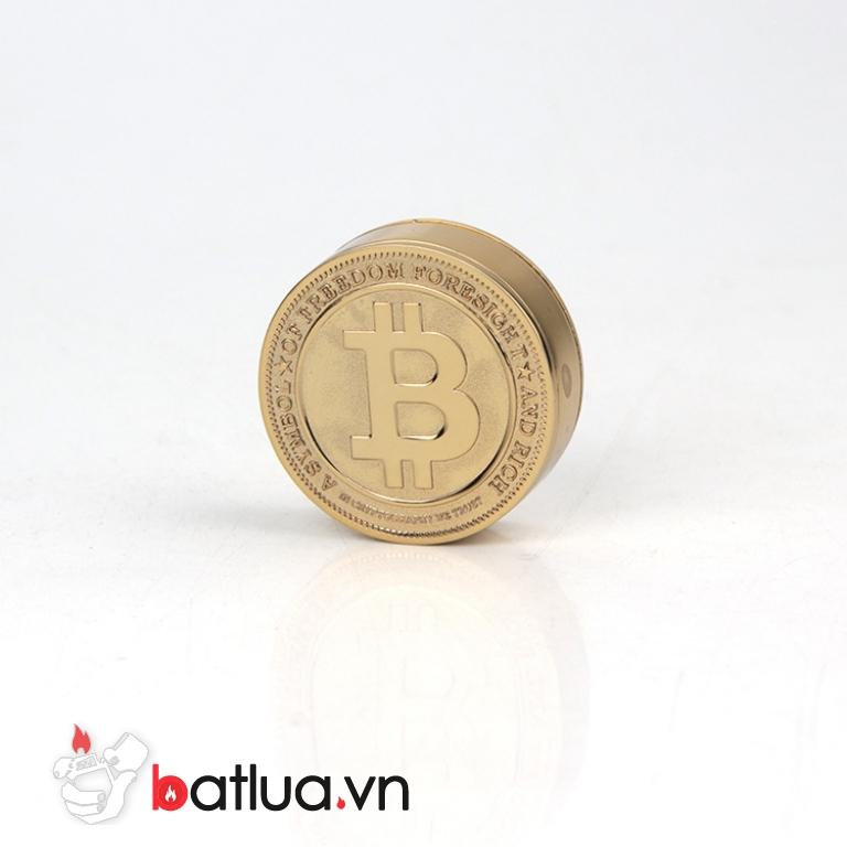 Bật lửa sạc điện USB hình đồng tiền bitcoin