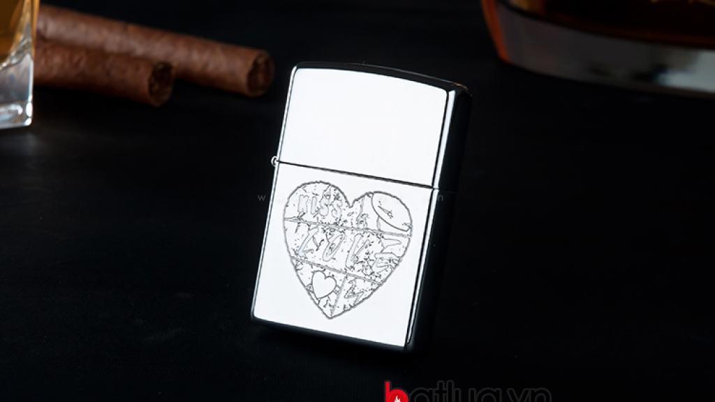 Bật lửa zippo chính hãng khắc trái tim Love