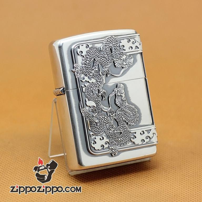 Zippo Chính Hãng Màu Bạc Vỏ Rồng Bao Quanh 3 Mặt
