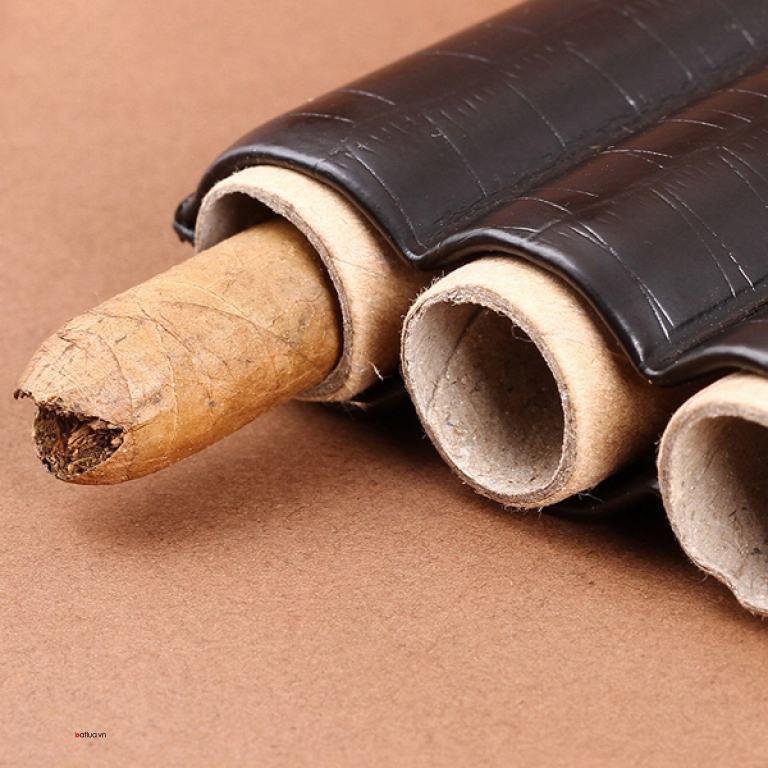 Bao da vân đen giữ ẩm Cigar kiêm dao cắt