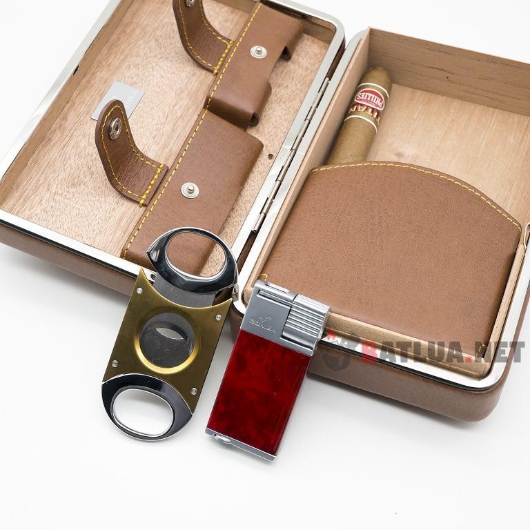 Set hộp đựng Cigar (xì gà), bật lửa Cigar (xì gà), dao cắt Cigar Cohiba