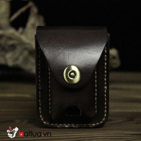 Bao da Handmade đựng zippo và thuốc lá Màu Đen