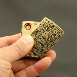 Bật lửa điện Dinuo - D135  khắc hoa văn tinh xảo sạc qua cổng USB - Mã SP: BL09210