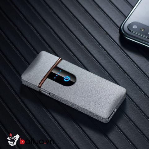 Bật lửa điện sạc USB 2019 màu xám sần