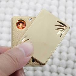 Bật lửa điện SY605 dùng pin sạc qua USB  khắc lá  MS66 082 - Mã SP: BL00982