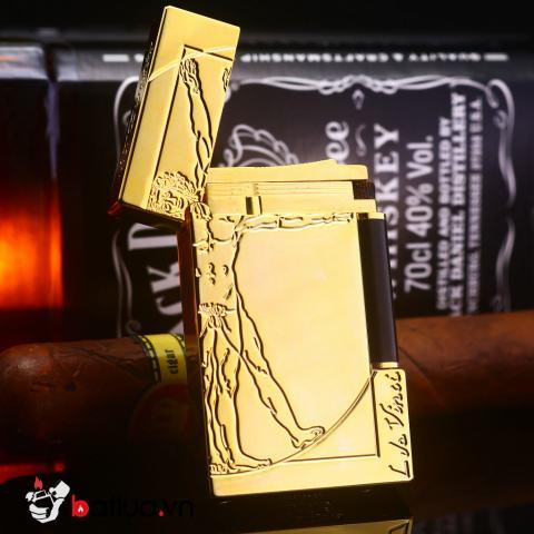 Bật lửa dupont khắc hình sáng tạo màu vàng sang trọng
