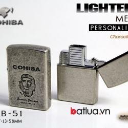 Bật lửa hút xì gà chính hãng COHIBA kiểu dáng zippo 2 đầu khò cực mạnh - Mã SP: BL03087