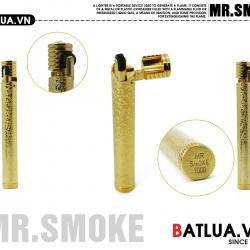 Bật lửa MR.SMOKE Chính hãng nhật bản vằng đồng nguyên chất sắc nét từng chi tiết nhỏ nắp đính ngọc lấp lánh sang trọng - Mã SP: BL01949