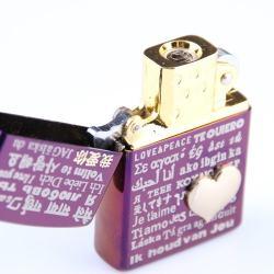 Bật lửa sạc điện không dùng ga kiểu dáng zippo mẫu 26 trái tim màu tím MS66 048 - Mã SP: BL00620