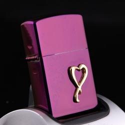 Bật lửa sạc điện không dùng ga kiểu dáng zippo mẫu 30 trái tim màu tím MS66 053 - Mã SP: BL00624