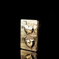 Bật lửa sạc điện USB 1001B-15 gạt ngang khắc nổi trái tim đôi ngọt ngào - Mã SP: BL09817