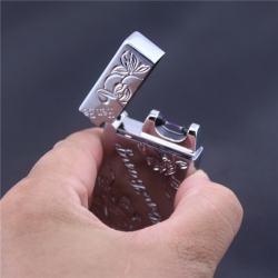 Bật lửa sạc điện USB HB-805 Hengbang phóng tia lửa điện khắc hoạ tiết  hoa lá tinh tế - Mã SP: BL02138