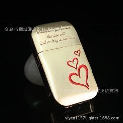 Bật lửa sạc điện USB khắc hình trái tim - Mã SP: BL09094