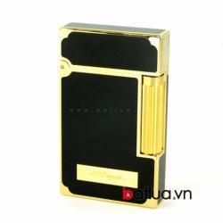 bật lửa S.t Dupont đen tuyền viền vàng có logo ở mặt trước - Mã SP: BL10260