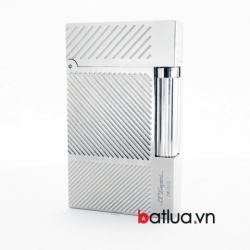 Bật lửa ST Dupont mẫu A107 bạc sọc vát chéo - Mã SP: BL10234