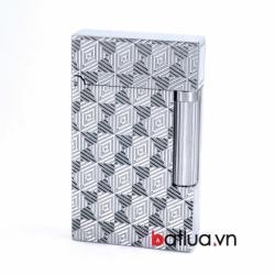 Bật lửa ST Dupont mẫu A153 bạc đan chéo tứ giác - Mã SP: BL10256