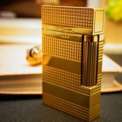 Bật Lửa S.T.Dupont 4 khúc kẻ caro ngang ánh vàng Mẫu 94 - Mã SP: BL00354