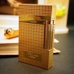 Bật Lửa S.T.Dupont kẻ caro ánh vàng Mẫu 93 - Mã SP: BL00355