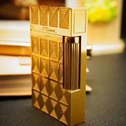 Bật Lửa S.T.Dupont kẻ caro hình ô cửa sổ ánh vàng Mẫu 95 - Mã SP: BL00353