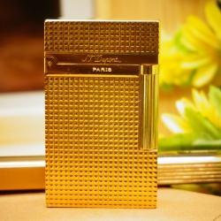 Bật Lửa S.T.Dupont kẻ caro nhỏ màu vàng Mẫu 83 - Mã SP: BL00364