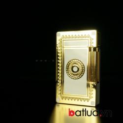 Bật lửa ST.Dupont mẫu 146 hoa văn nổi 2 mầu vàng trắng sang trọng - Mã SP: BL09036