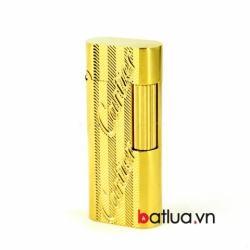 Bật lửa S.T.Dupont vàng khắc hoa văn vát chéo chữ nổi Cartier - Mã SP: BL10270