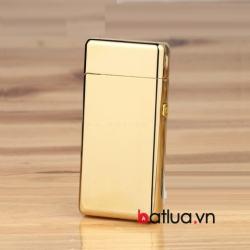 Bật lửa USB 2 tia lửa điện vàng bóng - Mã SP: BL10338