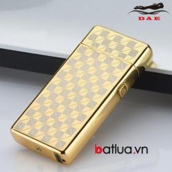 Bật lửa USB 2 tia lửa điện vàng kẻ caro - Mã SP: BL10340