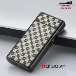 Bật lửa USB 2 tia lửa điện xám kẻ caro - Mã SP: BL10336
