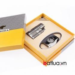 Bật lửa Xì gà 4 tia chính hãng COHIBA kèm dao cắt bằng thép không rỉ - Mã SP: BL03322