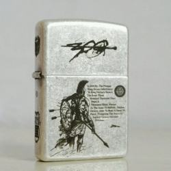 Bật lửa Zippo bạc cổ khắc 300 chiến binh - Mã SP: ZPC0492