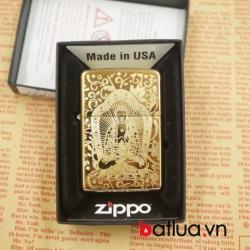 bật lửa zippo chính hãng 254b đồng vàng khắc 1 mặt hình phật - Mã SP: BL03066