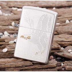 Bật lửa Zippo chính hãng 28356 trắng bạc khắc đại bàng - Mã SP: BL09710