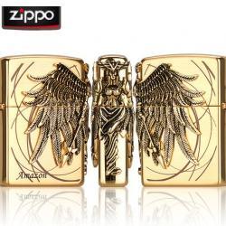 Bật lửa Zippo chính hãng Amazons Angel Ares phiên bản vàng - Mã SP: BL09123
