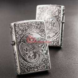 Bật lửa Zippo chính hãng bạc cổ khắc phượng múa - Mã SP: BL09975