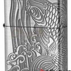 Bật lửa Zippo chính hãng bạc khắc cá chép - Mã SP: BL10347