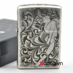 Bật lửa Zippo chính hãng bạc khắc họa văn cô gái - Mã SP: BL10275