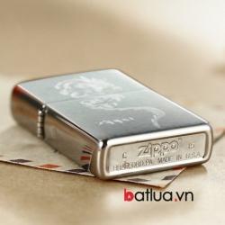 Bật lửa Zippo chính hãng bạc khắc rồng ver 3 - Mã SP: BL10120