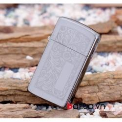 Bật lửa Zippo chính hãng bản hẹp hoa văn bạc - Mã SP: BL10181