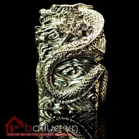 Bật lửa Zippo chính hãng bằng bạc nguyên chất nguyên một con rồng  quấn quanh bật lửa tinh xảo