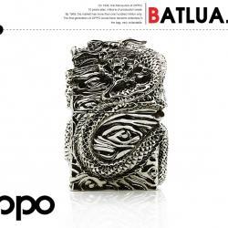 Bật lửa Zippo chính hãng bằng bạc nguyên chất nguyên một con rồng  quấn quanh bật lửa tinh xảo - Mã SP: BL01859