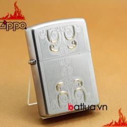 Bật lửa zippo chính hãng cát sa tin khắc hoa văn sắc sảo - Mã SP: BL03207
