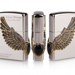 Bật lửa Zippo chính hãng Cupid Wings màu trắng bạc - Mã SP: BL09112