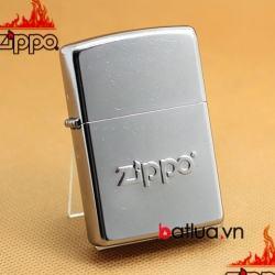 bât lửa zippo chính hãng dập nổi logo zippo mầu bạc xước - Mã SP: BL03244