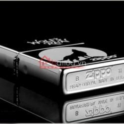 Bật lửa Zippo chính hãng đen Chó sói hú trong đêm - Mã SP: BL09955