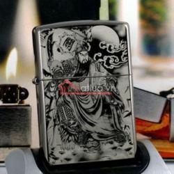 Bật lửa Zippo chính hãng đen In hình Quan Công - Mã SP: BL09960