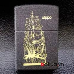 Bật lửa zippo chính hãng đen nhám khắc Thuyền - Mã SP: BL10349