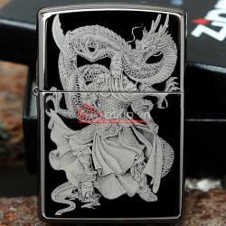 Bật lửa Zippo chính hãng đen Quang công múa rồng - Mã SP: BL09954