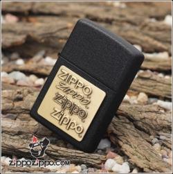Bật Lửa Zippo chính hãng đen sần 4 logo zippo - Mã SP: ZPC1755