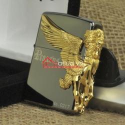 Bật lửa zippo chính hãng đen trơn họa tiết ngựa thiên thần mạ vàng bao quanh - Mã SP: BL09898